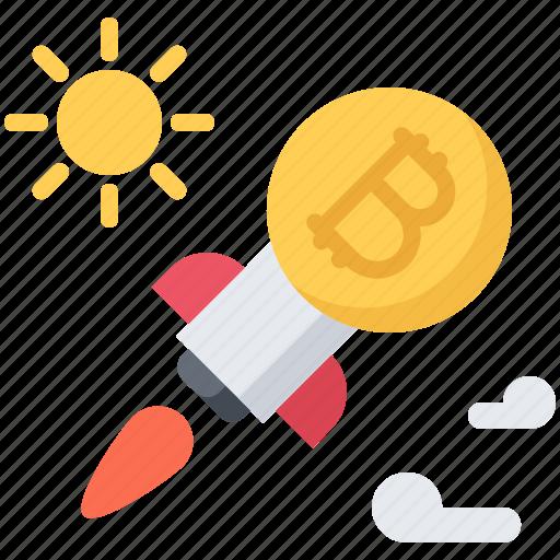 bitcoin, block, chain, coin, cryptocurrency, rocket, sun icon