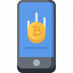 bitcoin, block, chain, coin, cryptocurrency, phone icon
