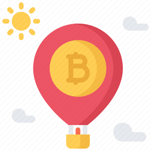 balloon, bitcoin, block, chain, coin, cryptocurrency, takeoff icon