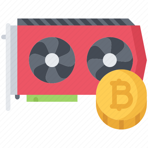 bitcoin, card, coin, cryptocurrency, mining, video icon