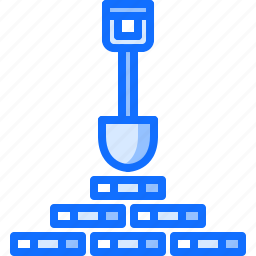 block, chain, coin, cryptocurrency, mine, mining, shovel icon