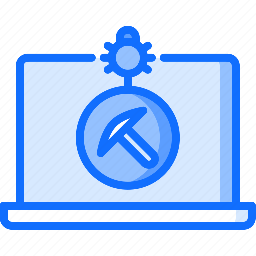 block, bug, chain, cryptocurrency, laptop, miner, program icon