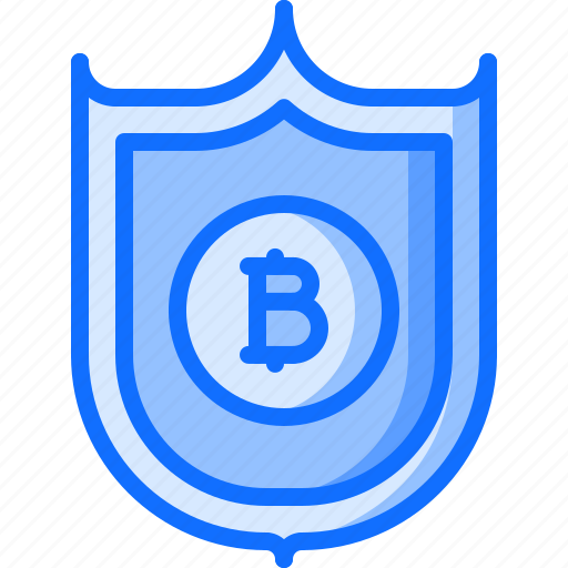 bitcoin, block, chain, coin, cryptocurrency, protection, shield icon