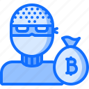 bag, bitcoin, block, chain, coin, cryptocurrency, thief