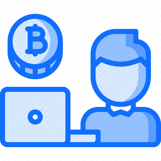 bitcoin, block, chain, coin, cryptocurrency, laptop, user icon