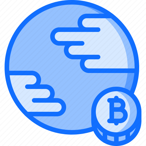 bitcoin, block, chain, coin, cryptocurrency, planet icon