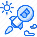 bitcoin, block, chain, coin, cryptocurrency, rocket, sun