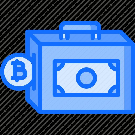bank, bitcoin, coin, cryptocurrency, finance, note, portfolio icon