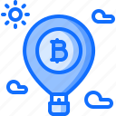 balloon, bitcoin, block, chain, coin, cryptocurrency, takeoff