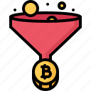 bitcoin, coin, cryptocurrency, funnel, mining, satoshi icon