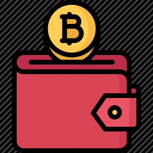 bitcoin, block, chain, coin, cryptocurrency, purse icon