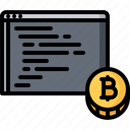 bitcoin, code, coin, cryptocurrency, program, programming icon
