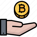 bitcoin, block, chain, coin, cryptocurrency, hand, payment icon