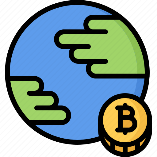 Bitcoin, block, chain, coin, cryptocurrency, planet icon - Download on Iconfinder