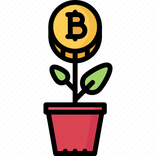 bitcoin, coin, cryptocurrency, plant, start, up icon