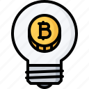 bitcoin, block, bulb, chain, coin, cryptocurrency, idea