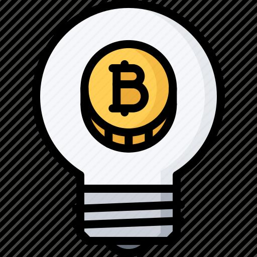 bitcoin, block, bulb, chain, coin, cryptocurrency, idea icon