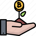 bitcoin, coin, cryptocurrency, hand, plant, start, up icon