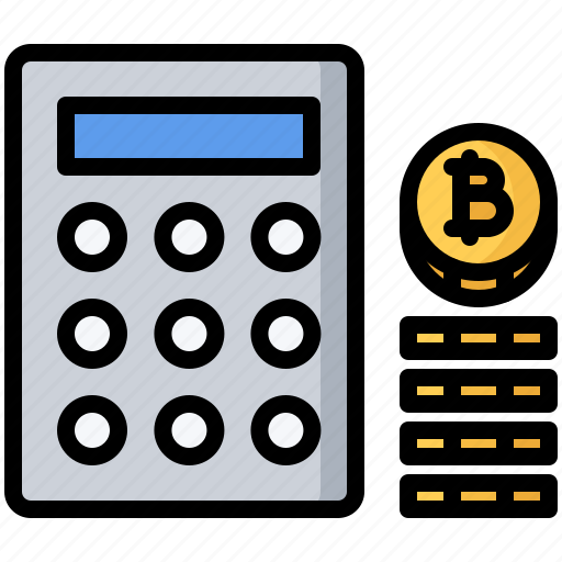 bitcoin, block, calculating, calculator, chain, coin, cryptocurrency icon