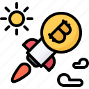 bitcoin, block, chain, coin, cryptocurrency, rocket, sun icon