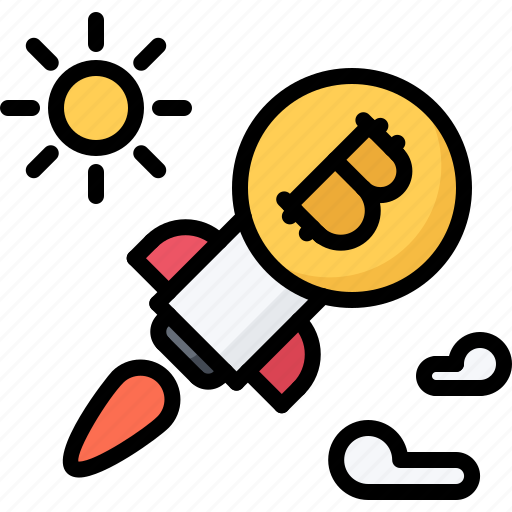 Bitcoin, block, chain, coin, cryptocurrency, rocket, sun icon - Download on Iconfinder