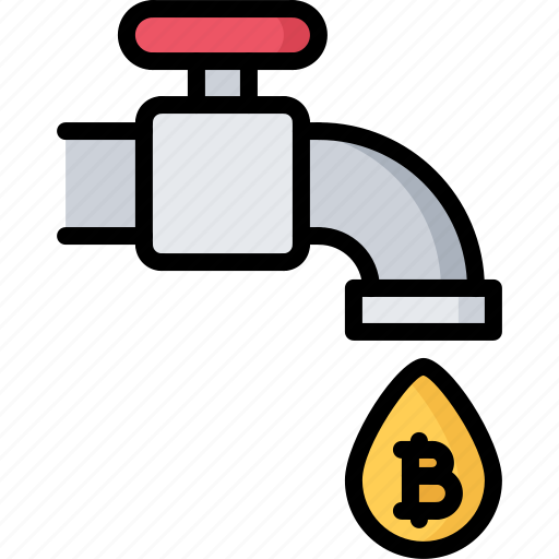bitcoin, block, chain, coin, cryptocurrency, tap, water icon