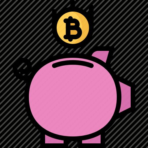 bitcoin, box, coin, cryptocurrency, money, saving icon