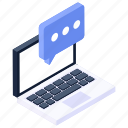 online message, online communication, conversation, online discussion, online chatting icon