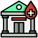 architecture, bank, blood, donation, healthcare, medical icon
