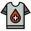 blood, clothing, donation, garment, shirts, tshirt, volunteer icon