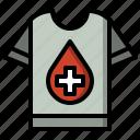 blood, clothing, donation, garment, shirts, tshirt, volunteer icon