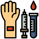 and, blood, donation, hands, healthcare, medical, test icon