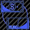 dollar, euro, exchange icon