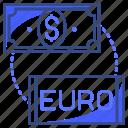 dollar, euro, exchange, finance, money icon