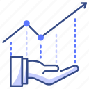 investment, take, growth, report, graph icon
