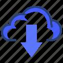 arrow, download, down, cloud, data