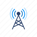 connection, internet, network, signal, tower icon