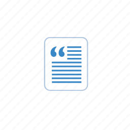 blue, doc, document, file, marketing, note, quote, talk icon