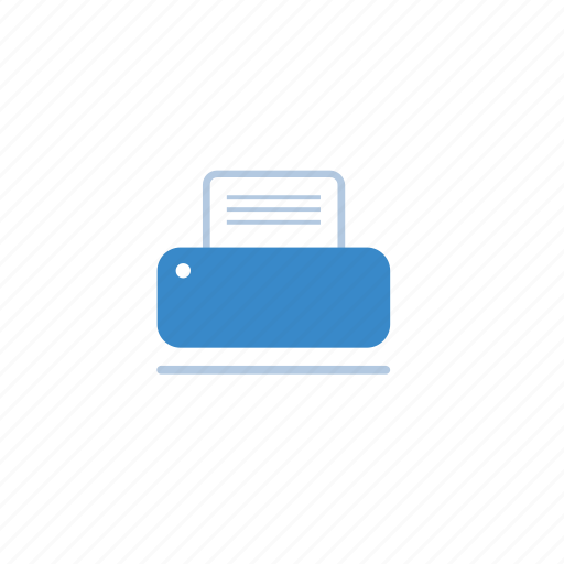 blue, business, office, printer, utility icon