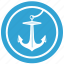 anchor, boat, round, ship, view icon