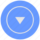 arrow, blue, bottom, geo, navigation, service icon