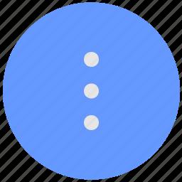 additional, blue, geo, menu, round, service, vertical icon