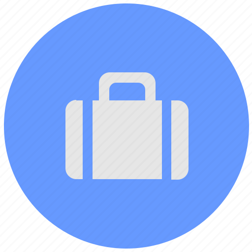 bag, blue, geo, luggage, round, service icon