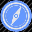 blue, compass, geo, instrument, navigator, round, service icon