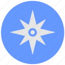 blue, compass, geo, instrument, round, service, side icon