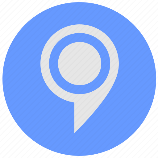 blue, geo, map, point, pointer, round, service icon