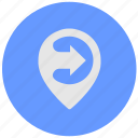 blue, geo, poi, pointer, round, service icon
