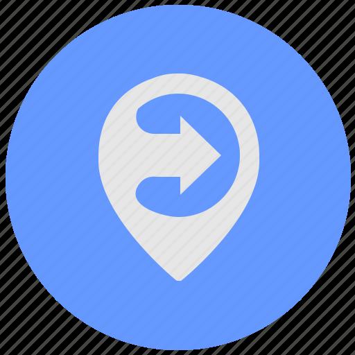 blue, geo, poi, pointer, round, service icon