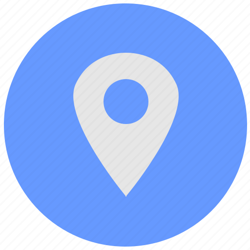 blue, geo, map, poi, point, pointer, round, service icon