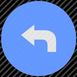 arrow, blue, geo, round, service, turn, way icon